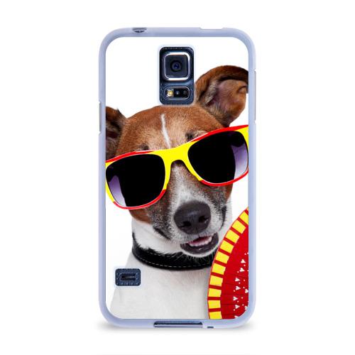 Чехол для Samsung Galaxy S5 силиконовый  Фото 01, Джек Рассел с веером
