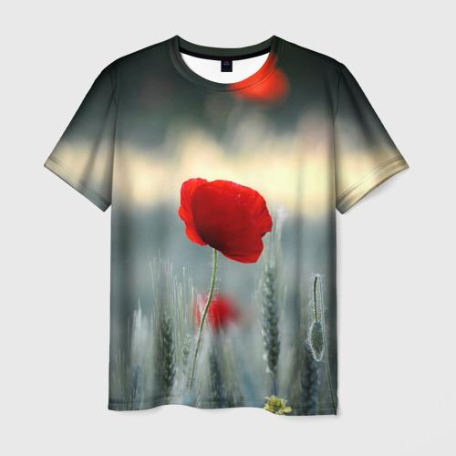 Мужская футболка 3D  Фото 01, Алый мак