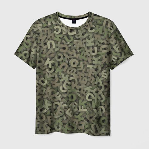 Мужская футболка 3D  Фото 03, Камуфляж с буквами