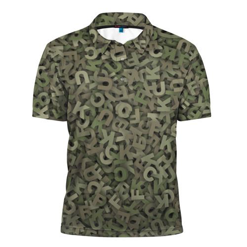 Мужская рубашка поло 3D  Фото 01, Камуфляж с буквами