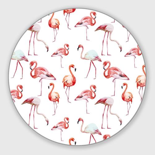 Коврик для мышки круглый Узор из фламинго Фото 01