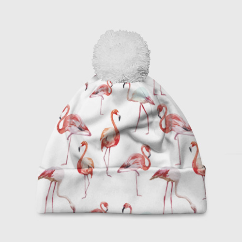 Шапка 3D c помпоном  Фото 01, Узор из фламинго