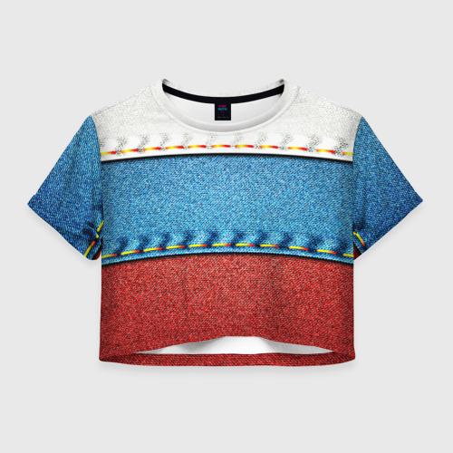 Женская футболка Cropp-top Триколор Фото 01