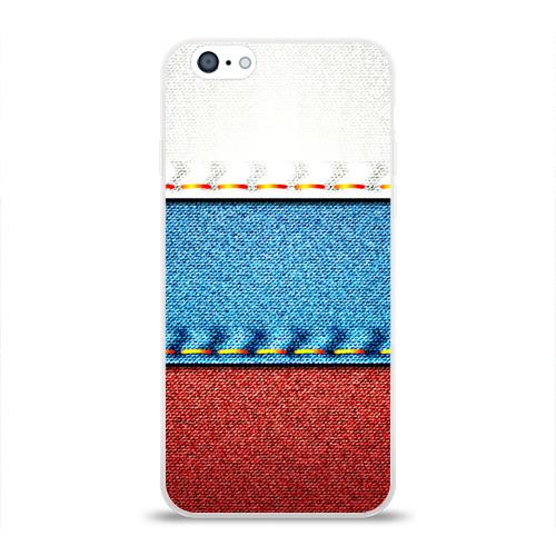 Чехол для Apple iPhone 6 силиконовый глянцевый Триколор Фото 01