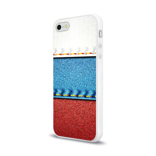 Чехол для Apple iPhone 5/5S силиконовый глянцевый Триколор Фото 01