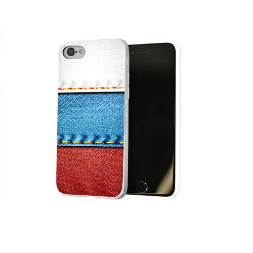 Чехол для Apple iPhone 8 силиконовый глянцевый Триколор Фото 01