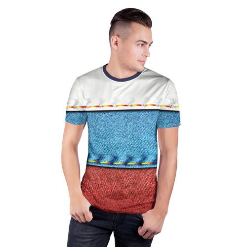 Мужская футболка 3D спортивная Триколор Фото 01
