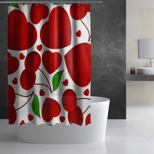 Штора 3D для ванной сердце и вишня Фото 01