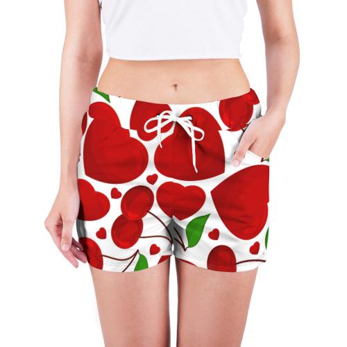 Женские шорты 3D  Фото 03, сердце и вишня