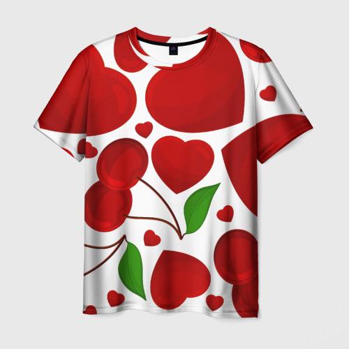 Мужская футболка 3D  Фото 03, сердце и вишня
