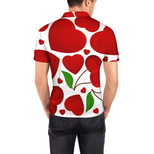 Мужская рубашка поло 3D  Фото 04, сердце и вишня