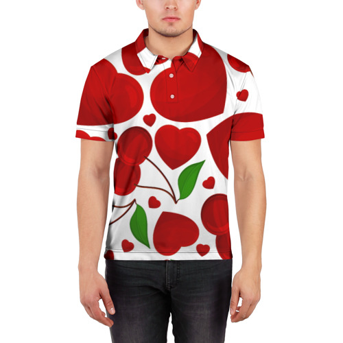 Мужская рубашка поло 3D  Фото 03, сердце и вишня