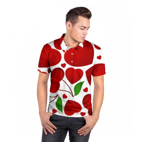 Мужская рубашка поло 3D  Фото 05, сердце и вишня