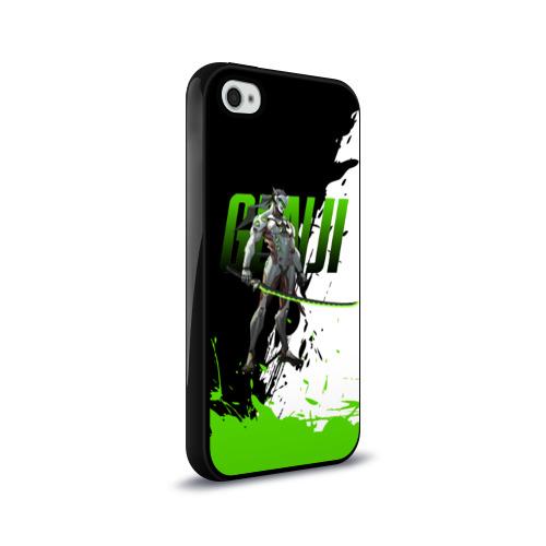 Чехол для Apple iPhone 4/4S силиконовый глянцевый  Фото 02, Overwatch Genji