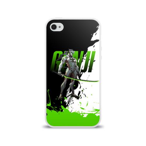 Чехол для Apple iPhone 4/4S силиконовый глянцевый  Фото 01, Overwatch Genji