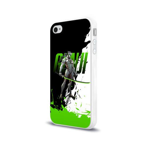 Чехол для Apple iPhone 4/4S силиконовый глянцевый  Фото 03, Overwatch Genji