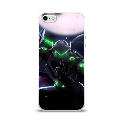 Чехол для Apple iPhone 5/5S силиконовый глянцевый  Фото 01, Overwatch Genji