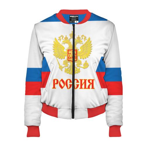 Женский бомбер 3D Сборная России гостевая форма