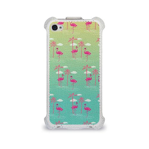 Чехол для Apple iPhone 4/4S flip  Фото 01, Фламинго и пальмы