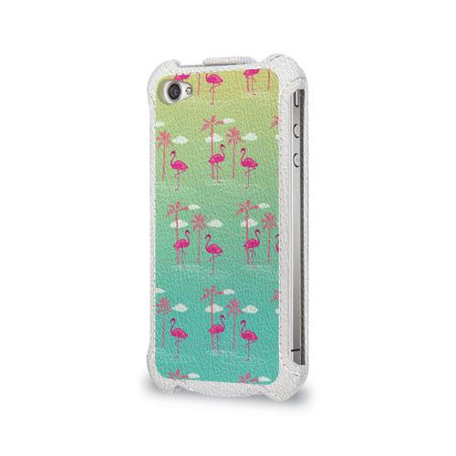 Чехол для Apple iPhone 4/4S flip  Фото 03, Фламинго и пальмы