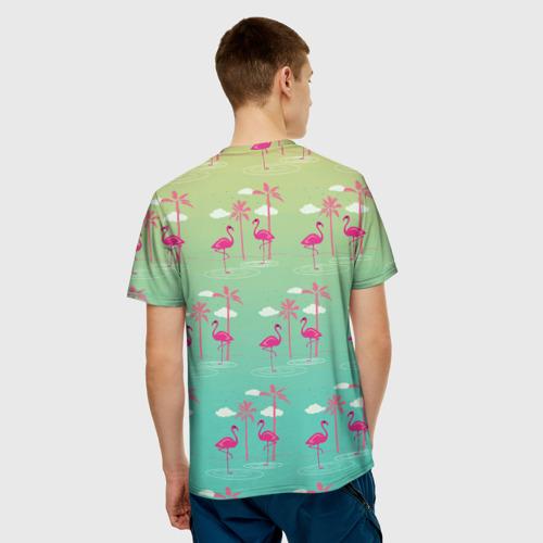 Мужская футболка 3D  Фото 02, Фламинго и пальмы