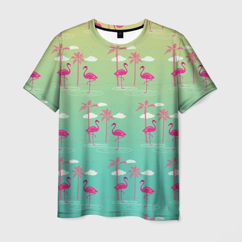 Мужская футболка 3D  Фото 03, Фламинго и пальмы