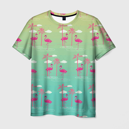 Мужская футболка 3D  Фото 01, Фламинго и пальмы