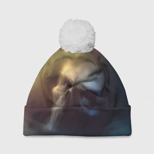 Шапка 3D c помпоном  Фото 01, Череп в дыму