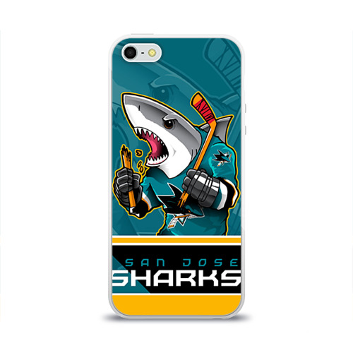 Чехол для Apple iPhone 5/5S силиконовый глянцевый  Фото 01, San Jose Sharks