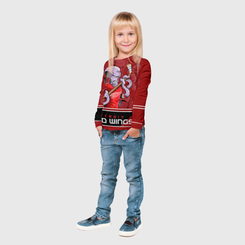 Детский лонгслив 3D  Фото 04, Detroit Red Wings