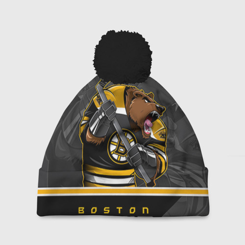 Шапка 3D c помпоном Boston Bruins
