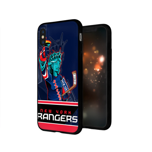 Чехол для Apple iPhone X силиконовый глянцевый New York Rangers Фото 01