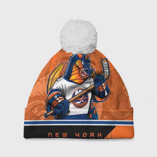 Шапка 3D c помпоном  Фото 01, New York Islanders