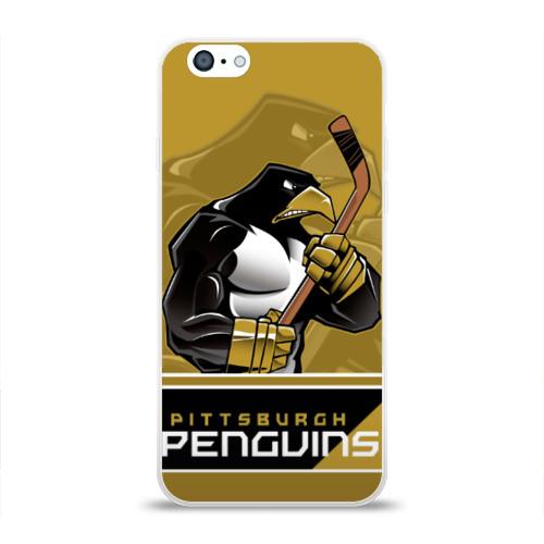 Чехол для Apple iPhone 6 силиконовый глянцевый  Фото 01, Pittsburgh Penguins