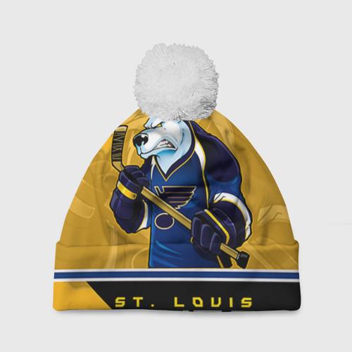 Шапка 3D c помпоном  Фото 01, St. Louis Blues