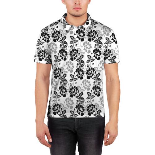 Мужская рубашка поло 3D  Фото 03, Цветы