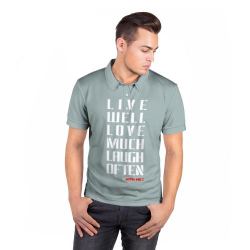 Мужская рубашка поло 3D  Фото 05, Живи, Люби, Смейся
