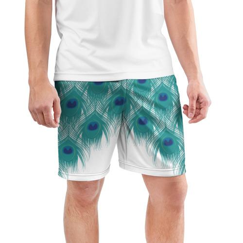 Мужские шорты 3D спортивные  Фото 03, Перья павлина