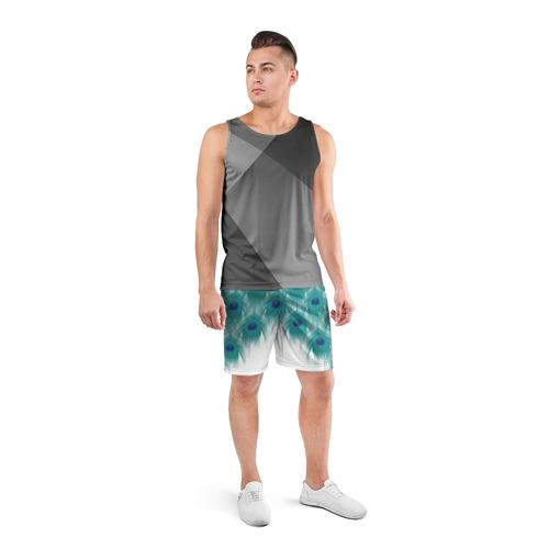 Мужские шорты 3D спортивные  Фото 04, Перья павлина