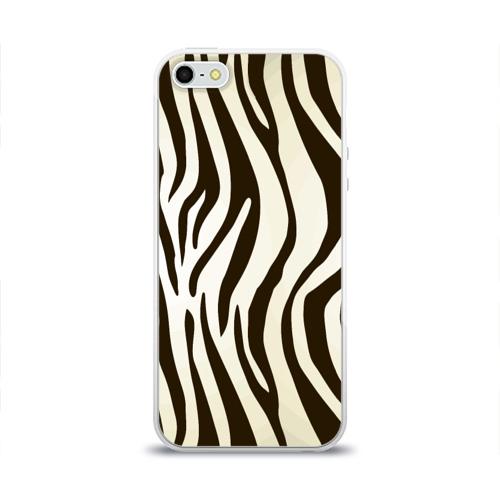 Чехол для Apple iPhone 5/5S силиконовый глянцевый Шкура зебры Фото 01