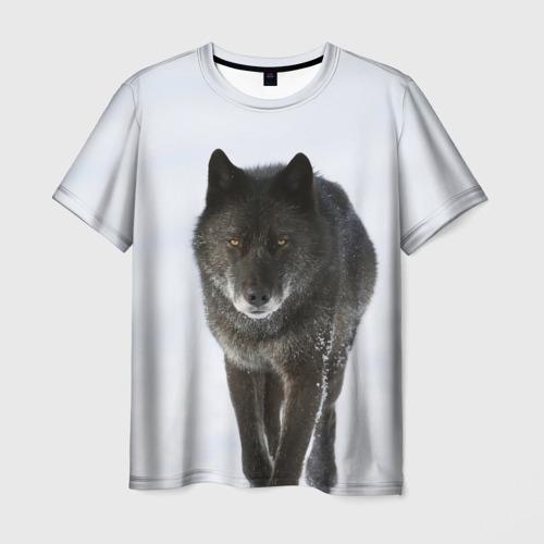 Мужская футболка 3D  Фото 01, Черный волк