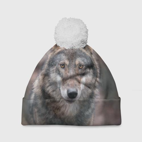Шапка 3D c помпоном  Фото 01, Wolf