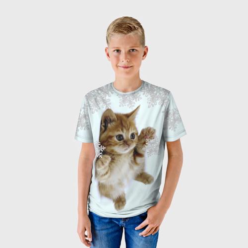 Детская футболка 3D Котенок и снежинки