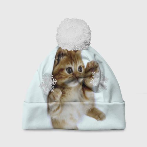 Шапка 3D c помпоном  Фото 01, Котенок и снежинки
