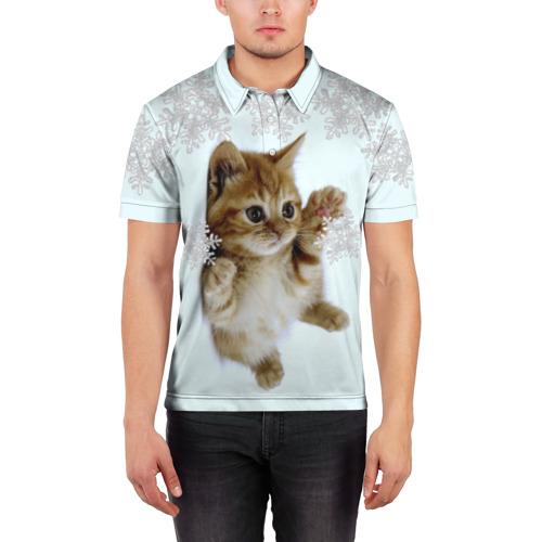 Мужская рубашка поло 3D  Фото 03, Котенок и снежинки