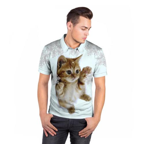 Мужская рубашка поло 3D  Фото 05, Котенок и снежинки