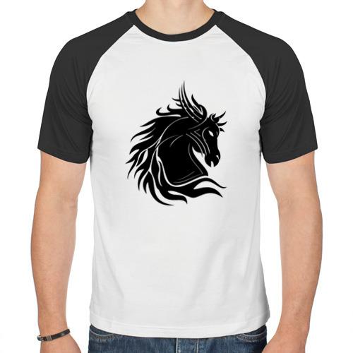 Мужская футболка реглан  Фото 01, Лошадь трайбл