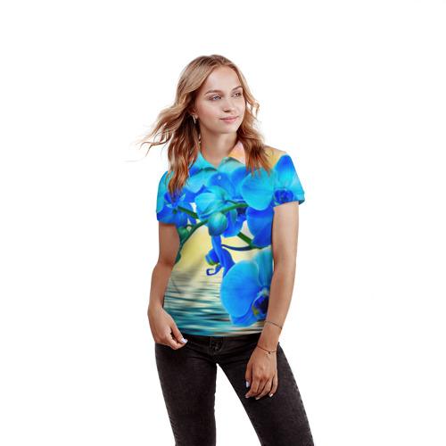 Женская рубашка поло 3D  Фото 03, Орхидеи