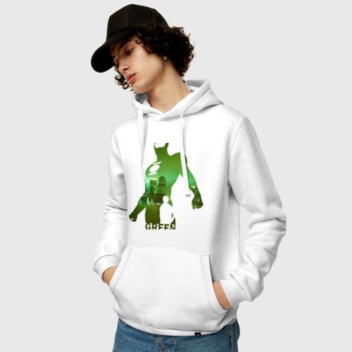 Мужская толстовка хлопок  Фото 03, зеленый фонарь город