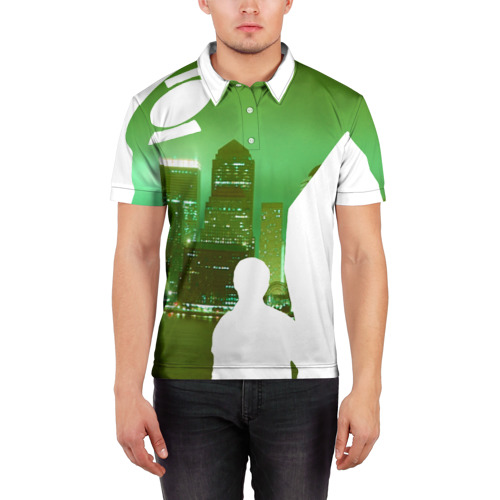 Мужская рубашка поло 3D  Фото 03, зеленый фонарь город